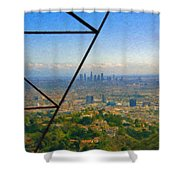 Power Lines Los Angeles Skyline Shower Curtain