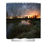 Power Plant Sunrise 1.0 Shower Curtain