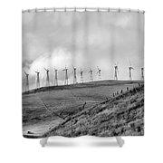 Power Wind Turbines  Bw Shower Curtain
