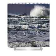 Powerful Waves Crash Ashore Shower Curtain