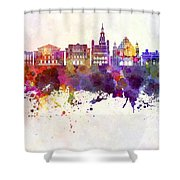 Poznan Skyline In Watercolor Background Shower Curtain