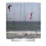 pr 122 - Five Windsurfers Shower Curtain