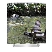 pr 165 - Chairs In The River Shower Curtain