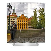 Prague Accordian Player On Charles Bridge Shower Curtain