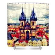 Prague Church Of Our Lady Before Tyn Watercolor Shower Curtain