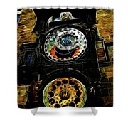 Prague Clock Shower Curtain
