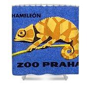 Prague Zoo Chameleon Matchbox Label Shower Curtain