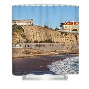 Praia Da Poca Beach In Estoril Portugal Shower Curtain