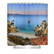 Praia Do Camilo At Sunset  Shower Curtain