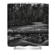Prairie River Crossing Log Square Format Shower Curtain