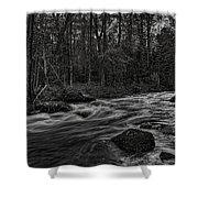 Prairie River Whitewater Black And White Shower Curtain