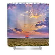 Prairie Sunset With Crepuscular Rays Shower Curtain