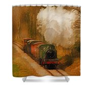 Prairie Train Shower Curtain by Skye Ryan-Evans