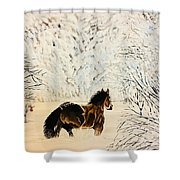 Prancing Through The Snow Shower Curtain