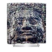 Prasat Bayon Stone Face  Shower Curtain