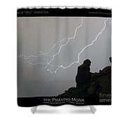 Praying Monk Lightning Striking Poster Print Shower Curtain by James BO  Insogna
