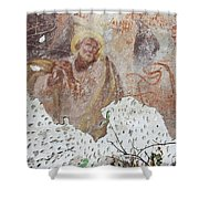 Praying Saint - Old Mural Painting Shower Curtain