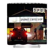 Pre-dawn Spudnut Run Shower Curtain