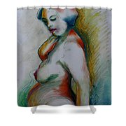 Pregnant Nude Shower Curtain