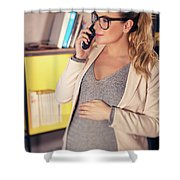 Pregnant Woman At Work Shower Curtain