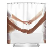 Pregnant Woman Holding Hands With A Man. Shower Curtain