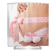 Pregnant Woman Holding Pink Baby Shoes Shower Curtain