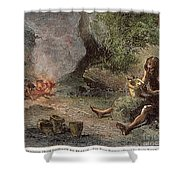 Prehistoric Man: Pottery Shower Curtain