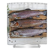 Preparing Trout For Dinner  Shower Curtain