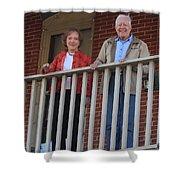 President And Mrs Carter On Plains Inn Balcony Shower Curtain