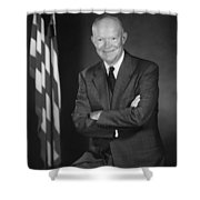 President Eisenhower And The U.s. Flag Shower Curtain