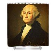 President George Washington Portrait And Signature Shower Curtain