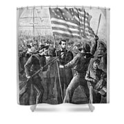 President Lincoln Holding The American Flag Shower Curtain