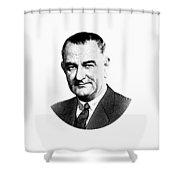 President Lyndon Johnson Graphic - Black And White Shower Curtain