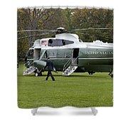 President Obama Walking Toward Marine One Shower Curtain