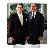 President Reagan And George H.w. Bush - Official Portrait  Shower Curtain