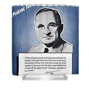 President Truman Speaking For America Shower Curtain