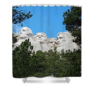 Presidents Of Mount Rushmore Framed By South Dakota Forest Trees Shower Curtain