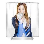 Pretty Business Woman Talking On Tin Can Phone Shower Curtain