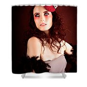 Pretty Glamour Fashion Girl On Red Backlight Shower Curtain