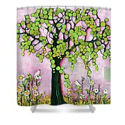 Pretty In Pink Paradise Tree Shower Curtain