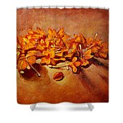 Pretty Little Orange Flowers - Kankaambaram Shower Curtain