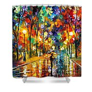 Pretty Night - Palette Knife Oil Painting On Canvas By Leonid Afremov Shower Curtain