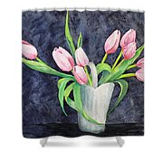 Pretty Pink Tulips Shower Curtain by Dee Carpenter