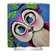 Pretty Pinky Owl Shower Curtain