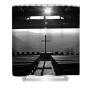 Pretty Place Aka Fred W. Symmes Chapel Black And White Shower Curtain