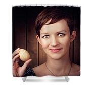Pretty Young Brunette Woman Holding Hatching Egg Shower Curtain