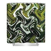 Prickly Pear With Green Fruit Abstract Shower Curtain