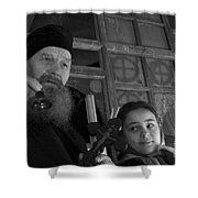 Priest And A Young Girl  Shower Curtain