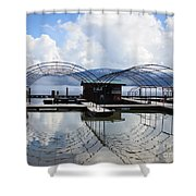 Priest Lake Boat Dock Reflection Shower Curtain