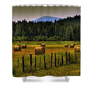 Priest Lake Hay Bales II Shower Curtain